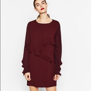 Zara | Burgundy Long Sleeve Flutter Dress